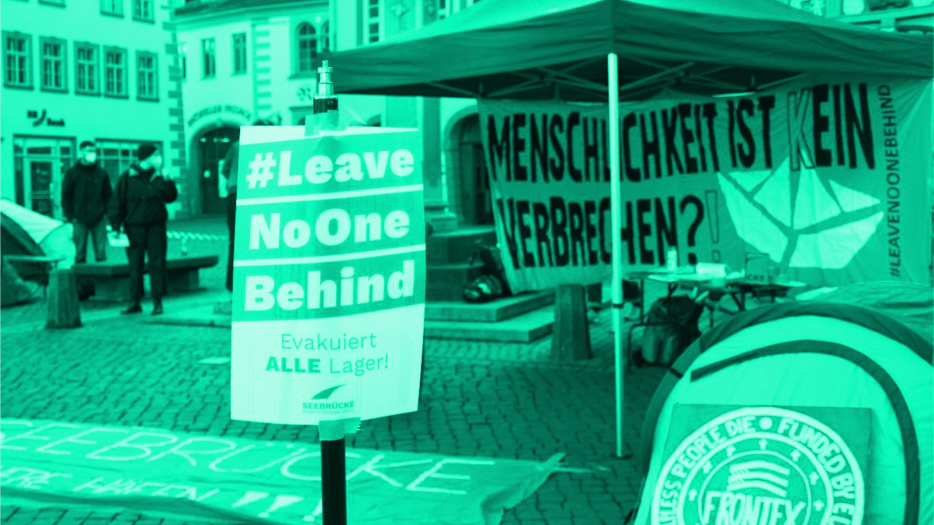 Zelte in Erfurts Innenstadt als Protest gegen humanitäres Versagen